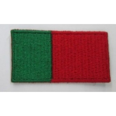 GREEN AND RED EMBROIDERED FLAG