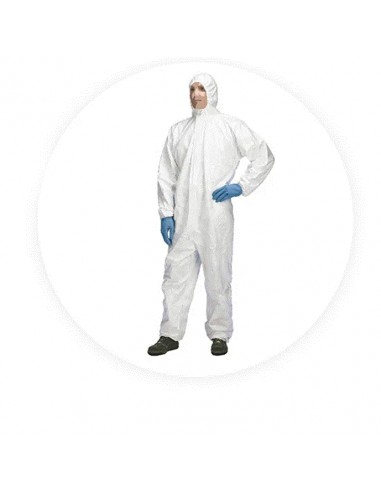 Fatos de Proteção em Branco com Capuz